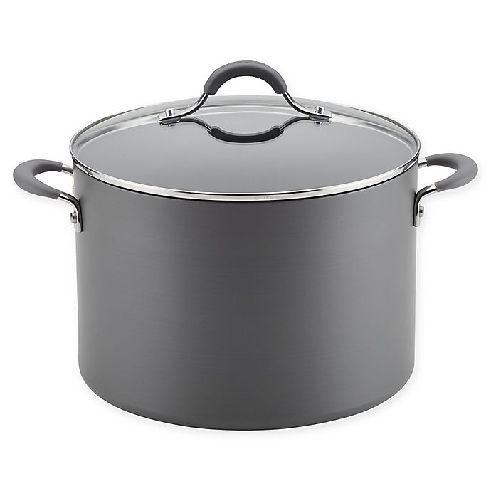 Alternate image 1 for Circulon Radiance Nonstick Hard-Anodized Covered Wide Stock Pot in Grey
