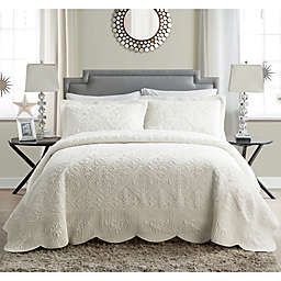 VCNY Home Westland Quilted Plush Twin Bedspread Set in Ivory