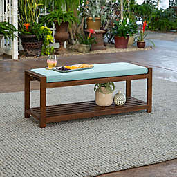 Forest Gate Arvada Acacia Wood Outdoor Bench in Blue