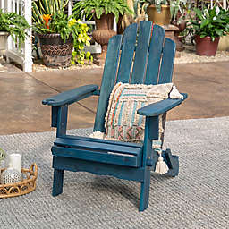 Forest Gate Arvada Acacia Outdoor Folding Adirondack Chair in Navy