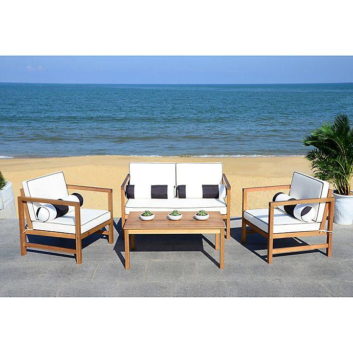 Alternate image 1 for Safavieh Montez 4-Piece Outdoor Conversation Set with Cushions in Black/White