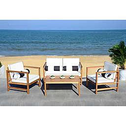 Safavieh Montez 4-Piece Outdoor Conversation Set with Cushions in Black/White