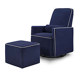 DaVinci Olive Upholstered Swivel Glider with Ottoman in Navy/Grey