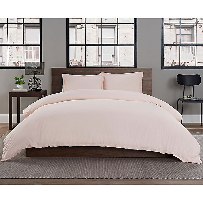 Alternate image 1 for Garment Washed Solid 2-Piece Twin/Twin XL Duvet Cover Set in Ballet