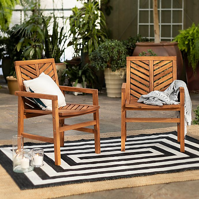 Alternate image 1 for Forest Gate Olive Acacia Wood Outdoor Chairs (Set of 2)