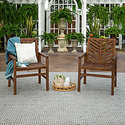 Forest Gate Olive Acacia Wood Outdoor Chairs in Dark Brown (Set of 2)