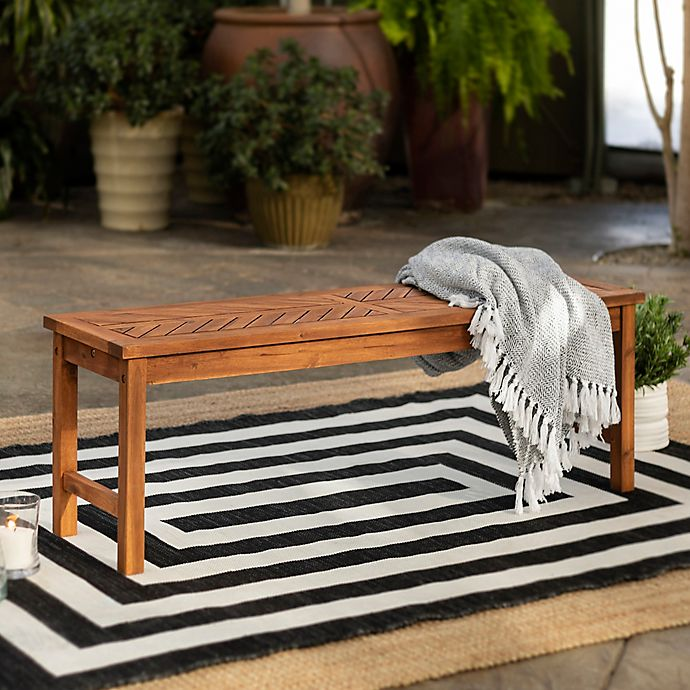 Alternate image 1 for Forest Gate Olive Acacia Wood Outdoor Bench