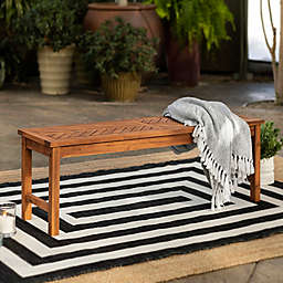 Forest Gate Olive Acacia Wood Outdoor Bench in Grey Wash