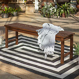Forest Gate Olive Acacia Wood Outdoor Bench in Dark Brown