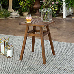 Forest Gate Olive Acacia Outdoor Side End Table in Dark Brown