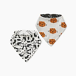 Tea Collection 2-Pack Reversible Cotton Bandana Bibs in Pandas/Tigers