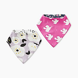 Tea Collection 2-Pack Reversible Cotton Bandana Bibs in Doves/Flowers