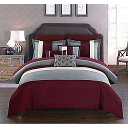 Chic Home Rashi 10-Piece Queen Comforter Set in Burgundy