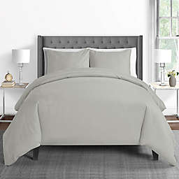 625-Thread-Count Full/Queen Duvet Cover Set in Silver