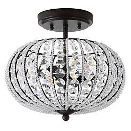 """JONATHAN Y Catalina 11.7"""" Metal /Acrylic LED Semi-Flush Mount in Oil Rubbed Bronze/Crystal"""
