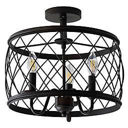 "JONATHAN Y Eleanor 15"" 3-Light Metal LED Semi Flush Mount Ceiling Light"