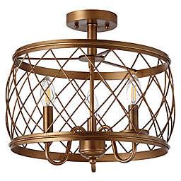 "JONATHAN Y Eleanor 15"" 3-Light Metal LED Semi Flush Mount Ceiling Light in Antiqued Gold"