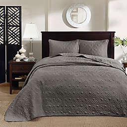 Madison Park Quebec 3-Piece Reversible Full/Queen Coverlet Set in Dark Grey