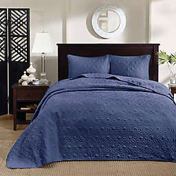 Madison Park Quebec 2-Piece Reversible Twin/Twin XL Coverlet Set in Navy