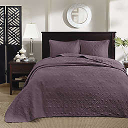 Madison Park Quebec 3-Piece Reversible King/California King Coverlet Set in Purple