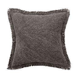 Bridge Street Harper Fringe Square Throw Pillow in Grey