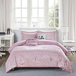 Intelligent Design Zoey Metallic Triangle Print Comforter Set in Purple/Silver