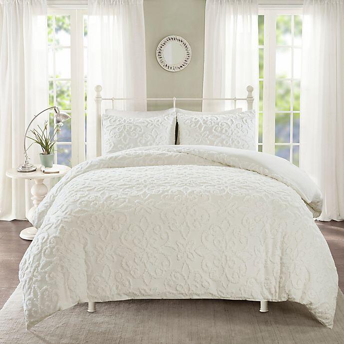 Alternate image 1 for Madison Park Sabrina 3-Piece Full/Queen Duvet Cover Set in White