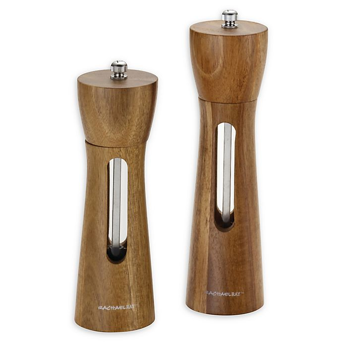 Alternate image 1 for Rachael Ray™ Tools and Gadgets 2-Piece Acacia Salt and Pepper Grinder Set