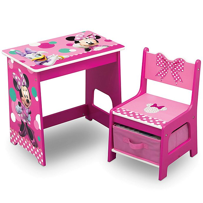 Alternate image 1 for Delta Children Disney® Minnie Mouse Kids Wood Desk and Chair Set in Pink