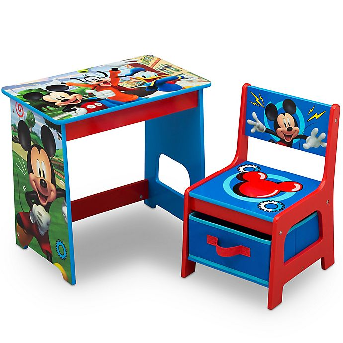 Alternate image 1 for Delta Children Disney® Mickey Mouse Kids Wood Desk and Chair Set in Red