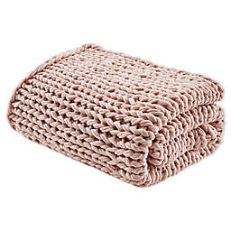 Madison Park Chunky Double Knit Throw Blanket in Blush