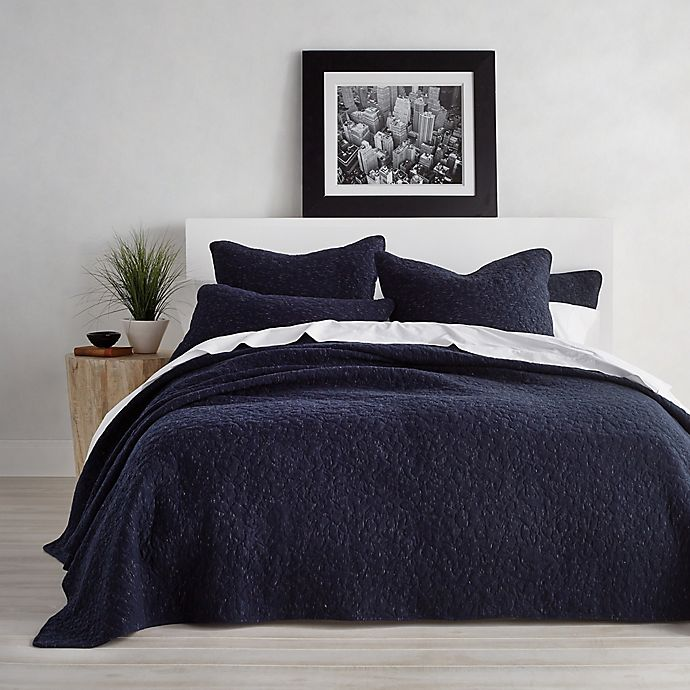 Alternate image 1 for DKNY Speckled Jersey Twin Quilt in Navy