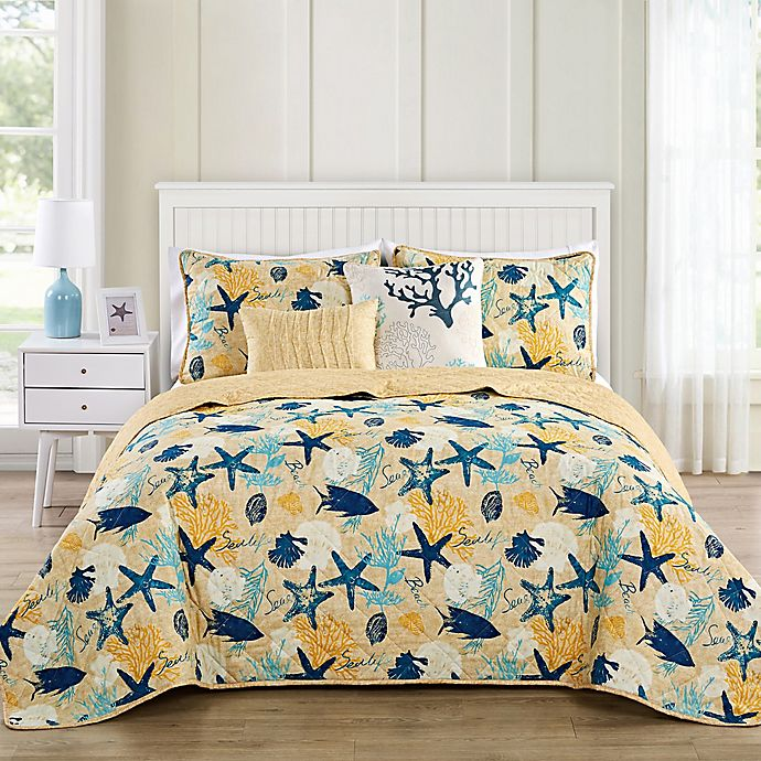 Alternate image 1 for VCNY Home Aquatic Reversible Queen Quilt Set in Blue