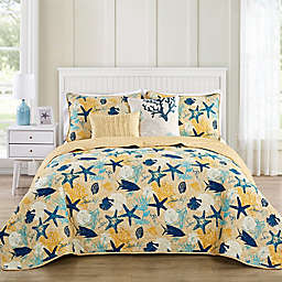 VCNY Home Aquatic Reversible Queen Quilt Set in Blue