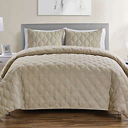 VCNY Home Quad Reversible Full/Queen Duvet Cover Set in Taupe