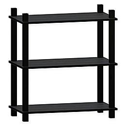 Linon Home Movein 3-Shelf Etagere Bookcase in Black