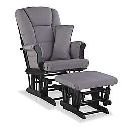 Storkcraft® Tuscany Glider and Ottoman Set in Black/Grey