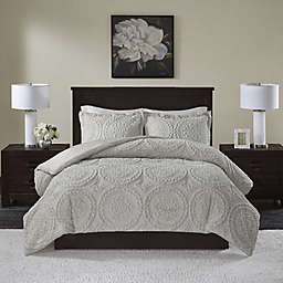 Madison Park Arya Medallion 3-Piece King/California King Ultra Plush Comforter Set in Grey