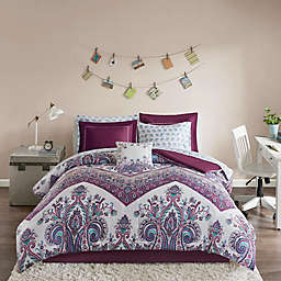 Intelligent Design Tulay Reversible Twin Comforter Set in Purple