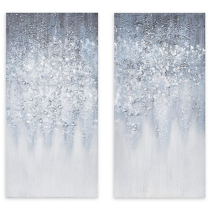 Alternate image 1 for Madison Park™ Winter Gaze 15-Inch x 30-Inch Wrapped Canvas in Blue/White (Set of 2)