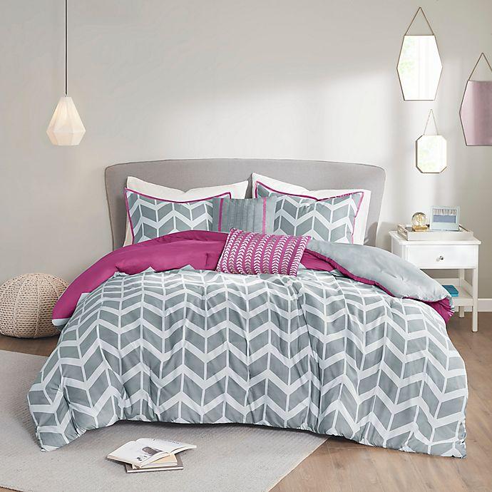 Alternate image 1 for Intelligent Design Nadia 4-Piece Twin/Twin XL Comforter Set in Purple/Grey/White