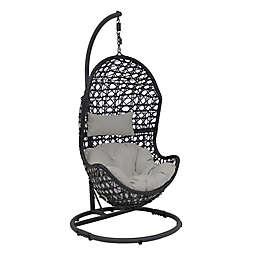 Sunnydaze Decor Cordelia Hanging Egg Chair with Cushion in Grey