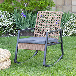 Forest Gate Patio Wicker Rocking Chair in Grey/Brown