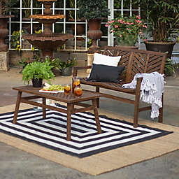 Forest Gate Olive 2-Piece Acacia Patio Chat Set in Dark Brown