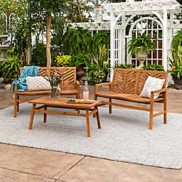 Forest Gate Olive 3-Piece Outdoor Acacia Chat Set in Brown