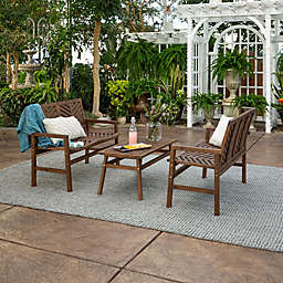 Forest Gate Olive 3-Piece Outdoor Acacia Chat Set