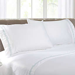 Coastal Life Coral 300-Thread-Count Embroidered Pillowcases in Blue/White (Set of 2)