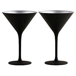 Stölzle Lausitz Olympia Martini Glasses in Black/Silver (Set of 2)