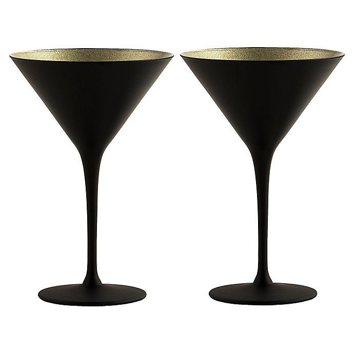 Alternate image 1 for Stölzle Lausitz Olympia Martini Glasses in Black/Gold (Set of 2)