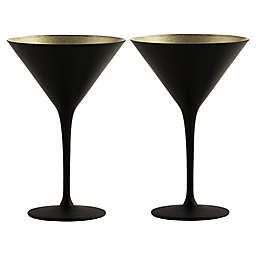 Stölzle Lausitz Olympia Martini Glasses in Black/Gold (Set of 2)